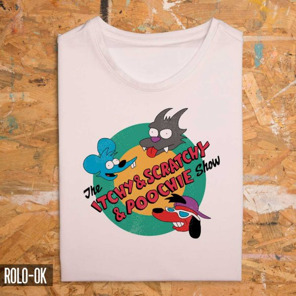 the itchy and scratchy and poochie show camiseta rolo-ok zoom
