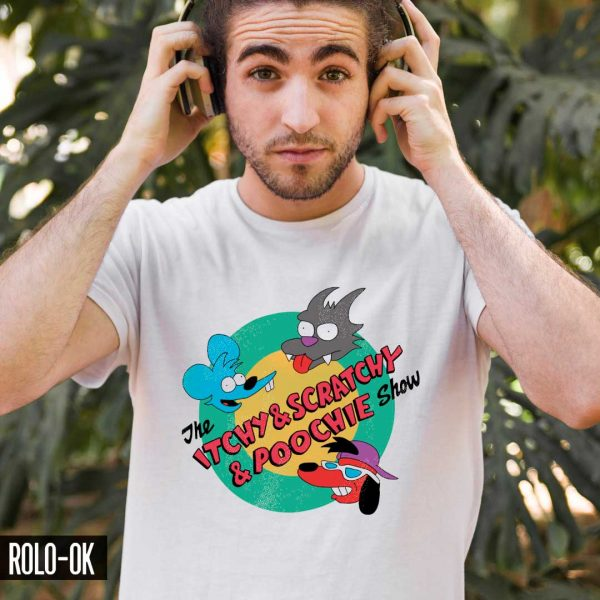 the itchy and scratchy and poochie show camiseta rolo-ok